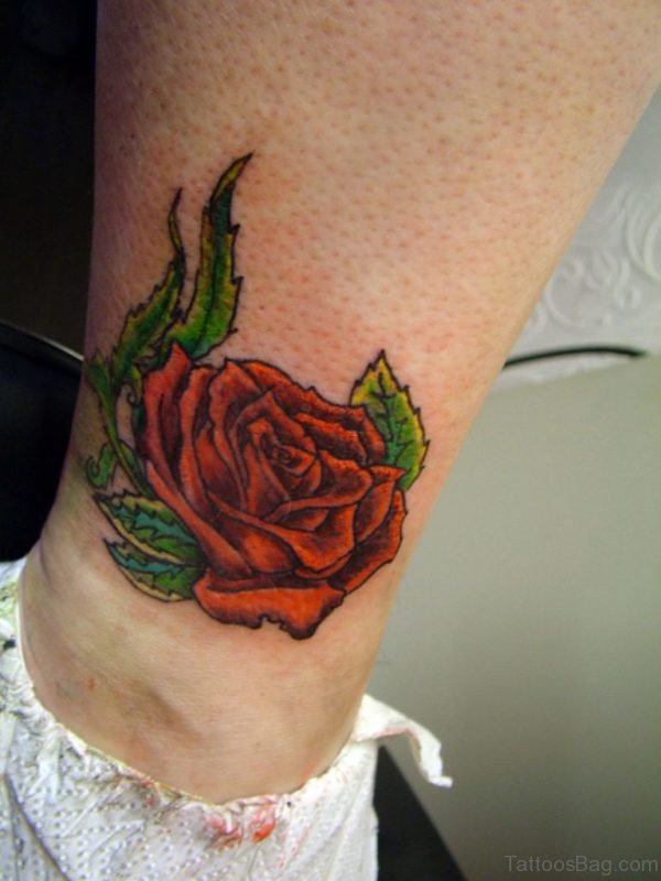 Lovely Red Rose Ankle Tattoo