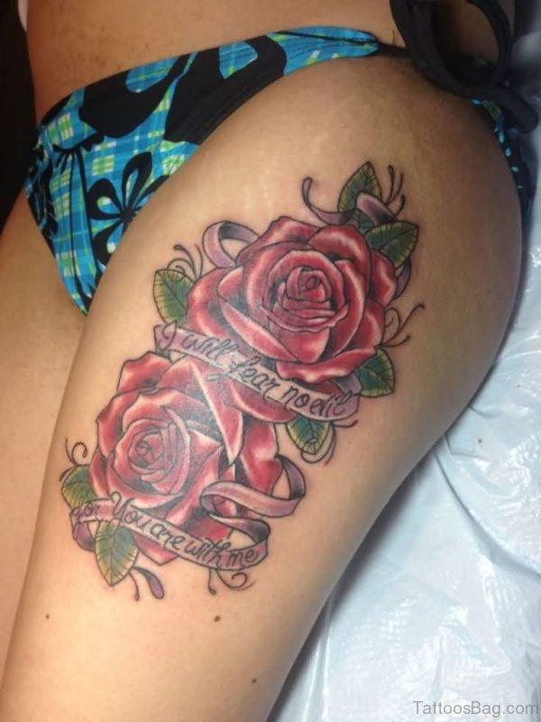 Lovely Roses Tattoos On Thigh For Girls