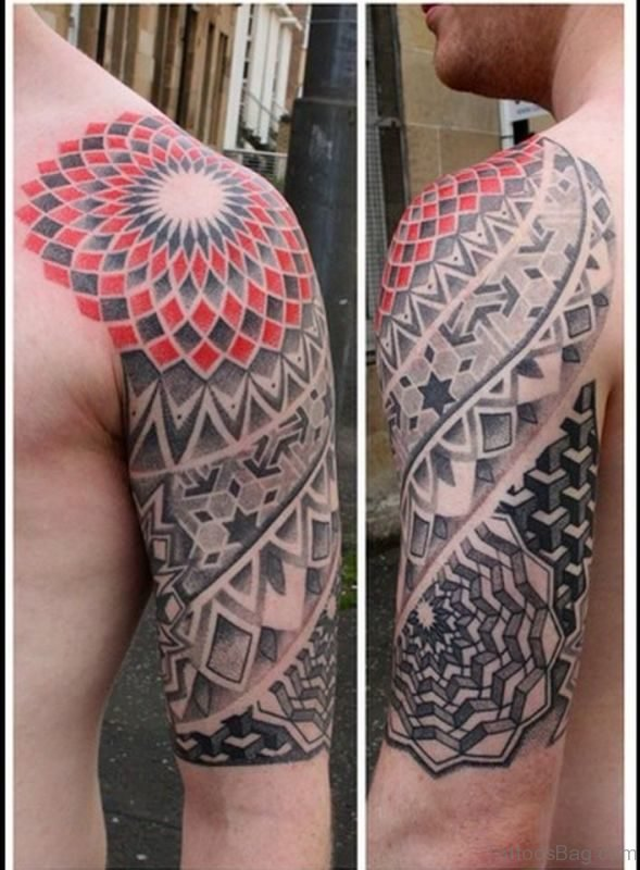 Lovely Shoulder Half Sleeves Tattoo