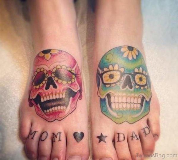 Lovely Skull Tattoo On Foot