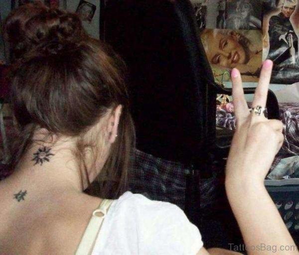 Lovely Sun Neck Tattoo