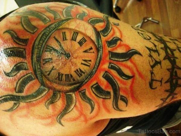 Lovely Sun Tattoo On Shoulder