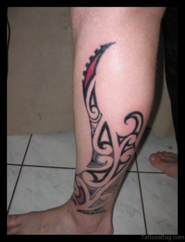 Lovely Tribal Tattoo Design For Leg