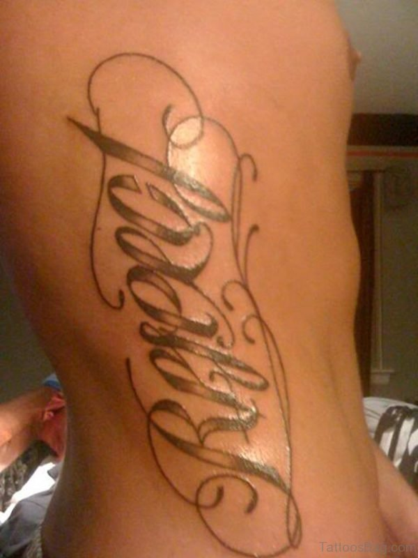 Loyalty Respect Ambigram Tattoos On Side Rib