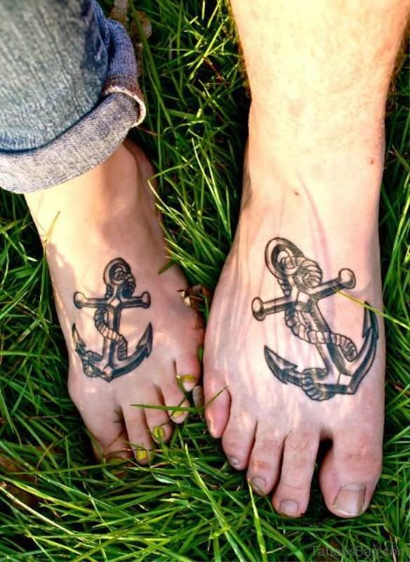 Magnificent Anchors Tattoos On Feet