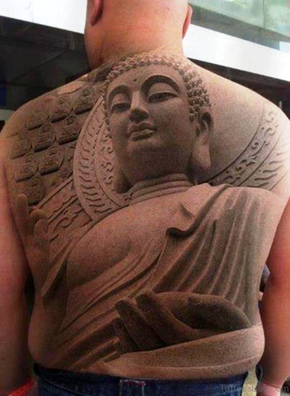 Magnificent Buddha Tattoo On Back