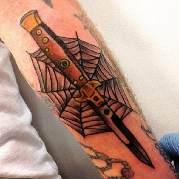 Magnificent Dagger Tattoo On Arm