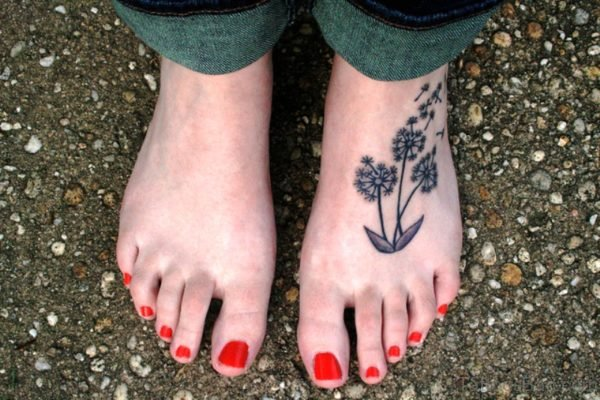 Magnificent Dandelion Tattoo On Foot