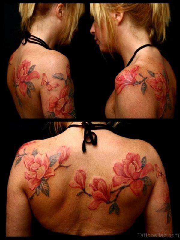Magnolia Flower Tattoos On Girl Upper Back