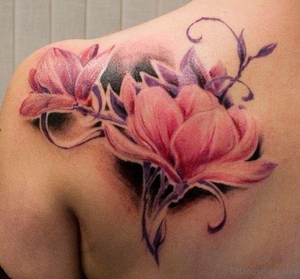 Magnolia Tattoo On Left Bac