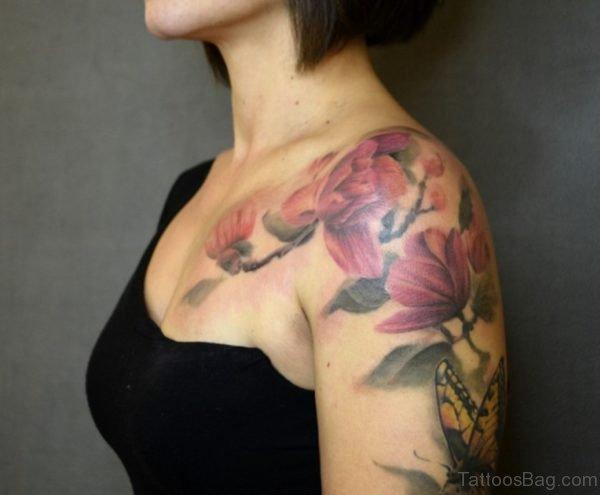 Magnolia Tattoo On Left Shoulder For Girls