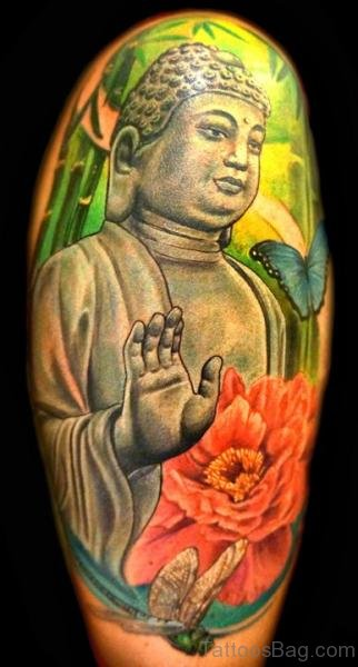 Mahatma Buddha Face Tattoo On Shoulder
