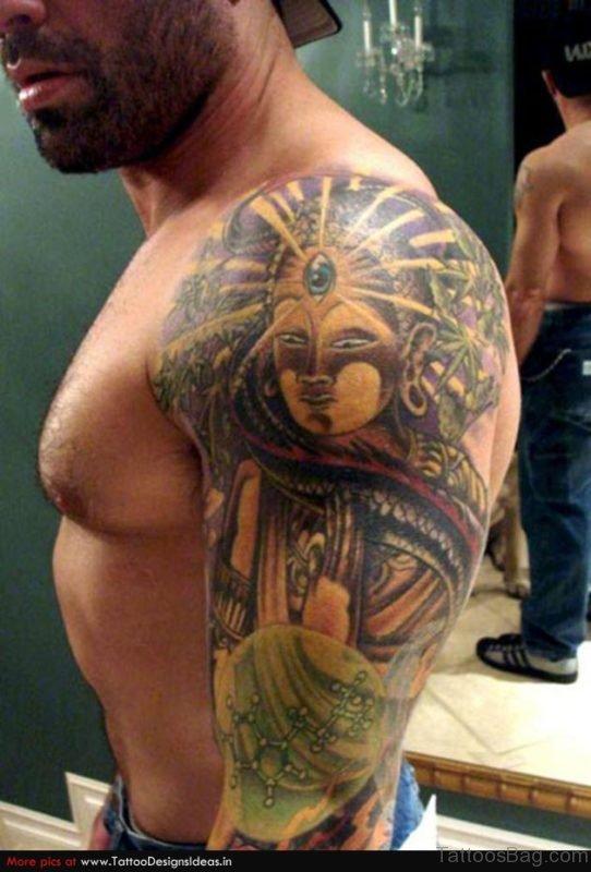 Mahatma Buddha Tattoo Design On Shoulder