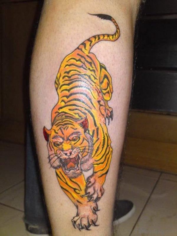 Majestic Tiger Tattoo For Leg