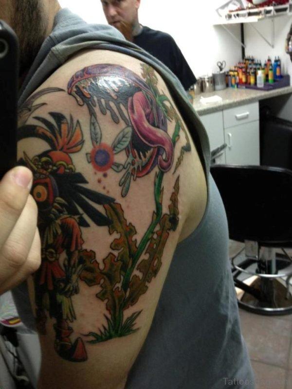 Majoras Mask Tattoo On Shoulder