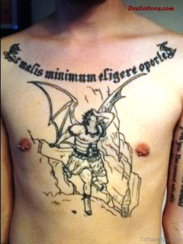 Man With Bat Wings Tattoo On Chest