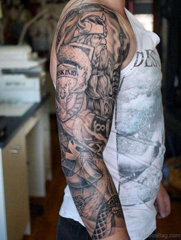 Man With Viking Sword Tattoo Full Sleeve