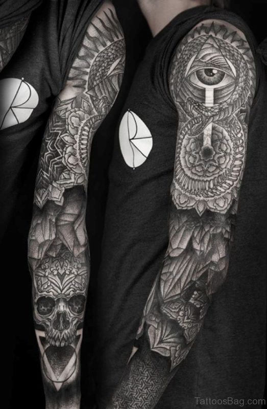 Mandala And Skull Full Sleeve Tattoo
