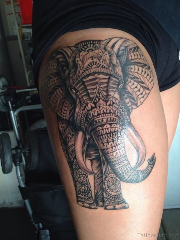 Mandala Elephant Tattoo On Thigh