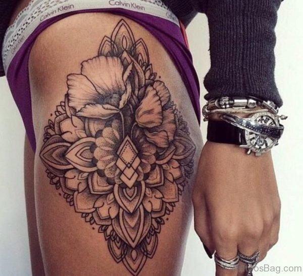 Mandala Flower Tattoo On Thigh