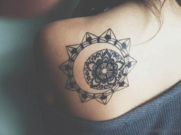 Mandala Tattoo On Back Shoulder