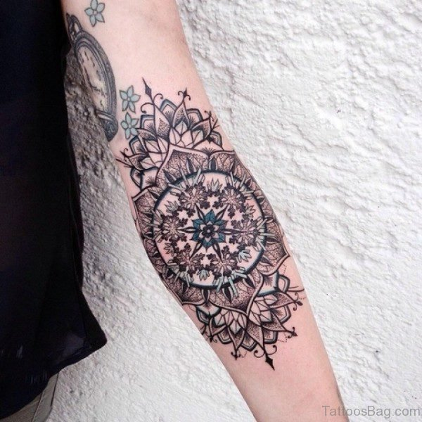 Mandala Tattoo On Elbow