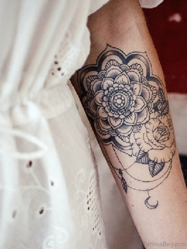 Mandala With Rose Tattoo Design