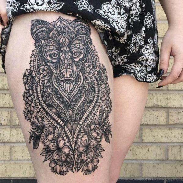 Mandala Wolf  Tattoo ON Thigh