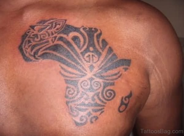 Maori African Map Tattoo On Chest