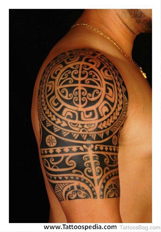 Maori Aztec Sun Shoulder Tattoo
