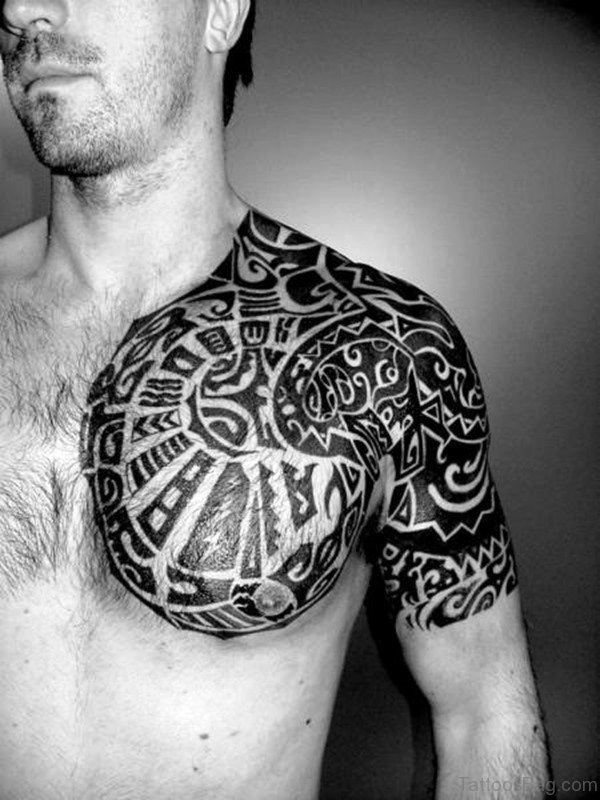 Maori Black Shoulder Tattoo Design