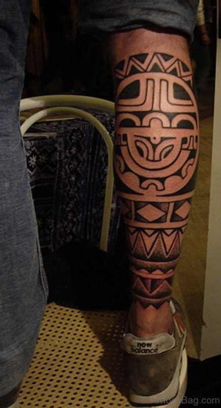 Maori Chip Tattoo On Back Leg