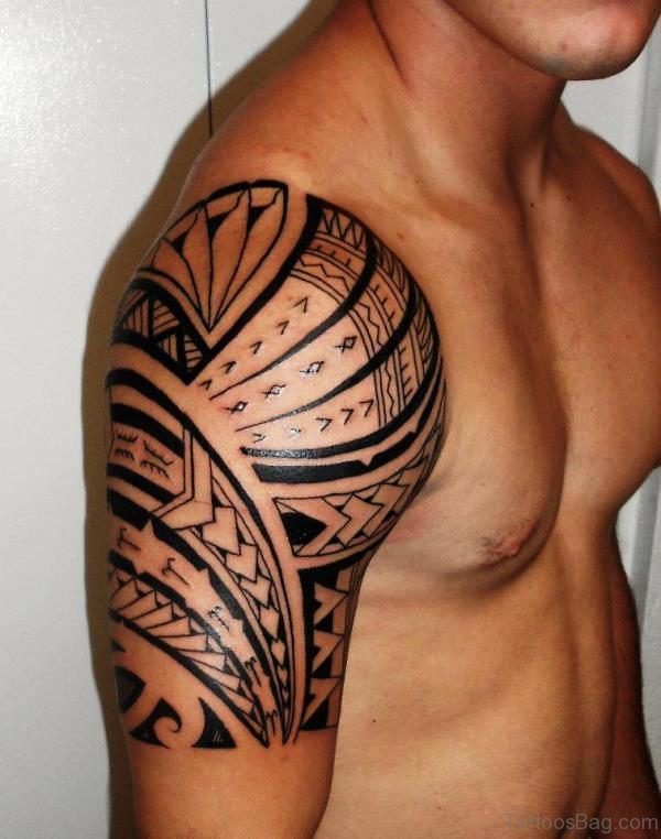 Maori Polynesian Shoulder Tattoo