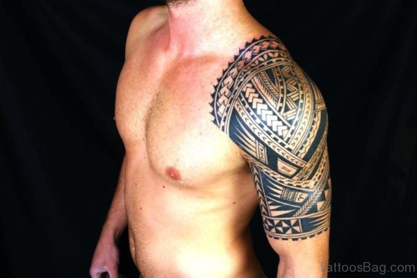 Maori Tattoo On Left Shoulder