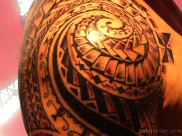 Maori Tattoo On Right Shoulder