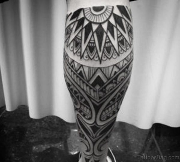 Maori Tribal Leg Tattoo Image