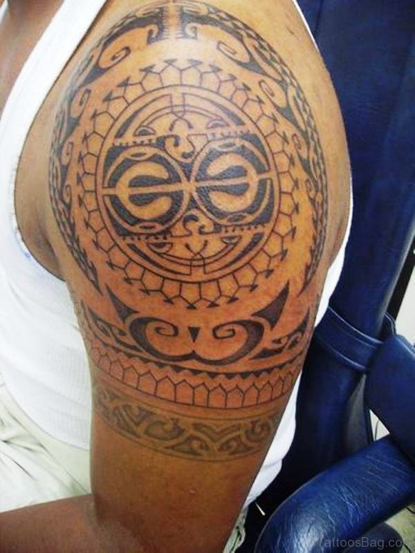 Maori Tribal Shoulder Tattoo Design