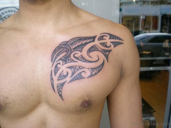 Maori Tribal Tattoo On Chest