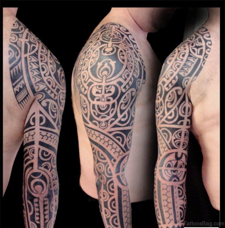 56 maori tattoo designs on full sleeve. Black Bedroom Furniture Sets. Home Design Ideas
