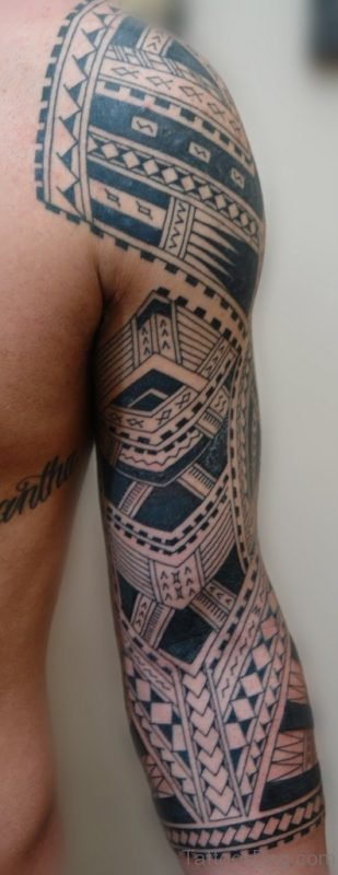 Maori Tribal Tattoo On Full Sleeve