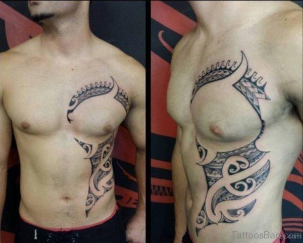Maori Tribal Tattoo On Rib