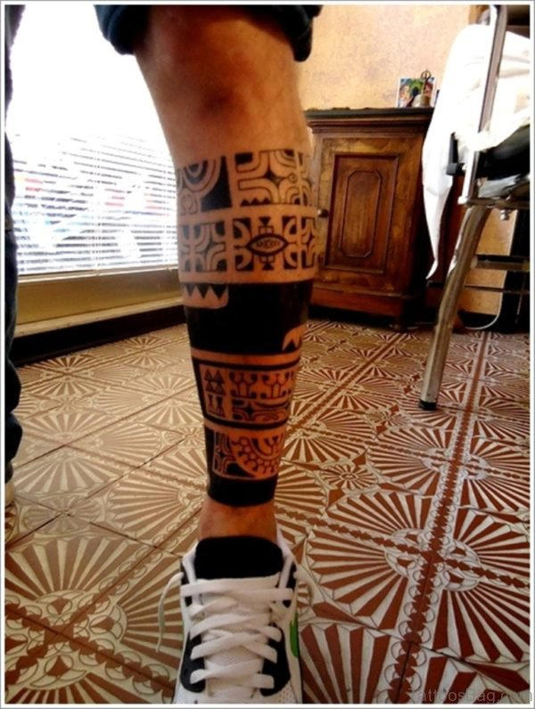 Maori Tribal Tattoo on Leg