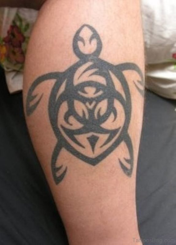Maori Turtle Tattoo On Leg