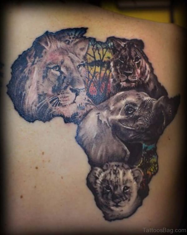 Map And Lion Tattoo Design