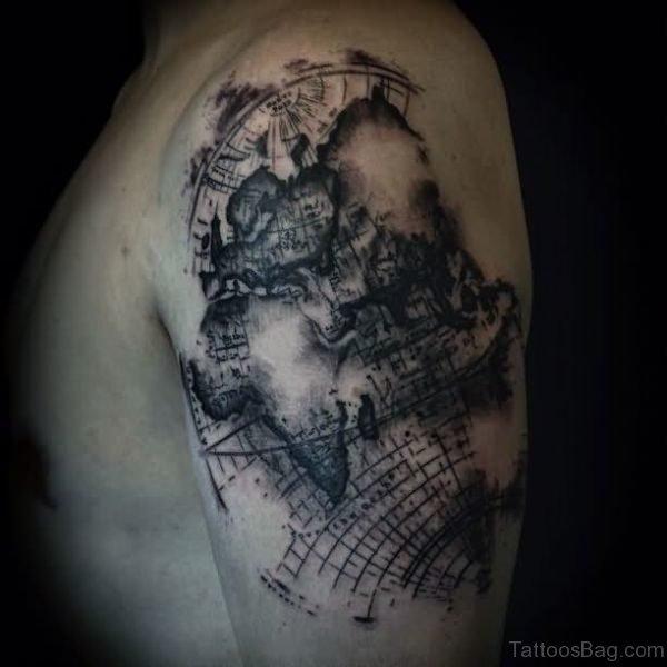 Map Shoulder Half Sleeves Tattoo