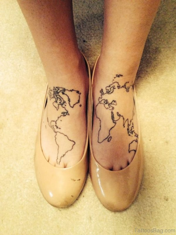 Map Tattoo Design On Foot
