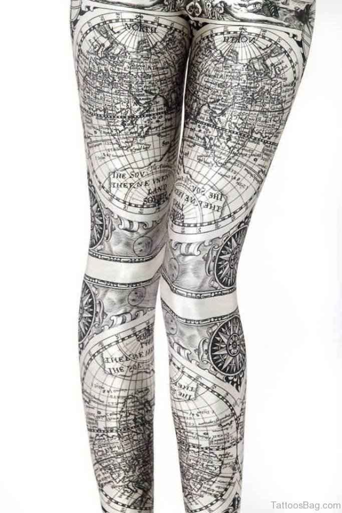 22 world map tattoos for thigh map with compass tattoo gumiabroncs Gallery