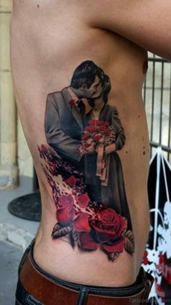 50 Graceful Portrait Tattoo On Rib