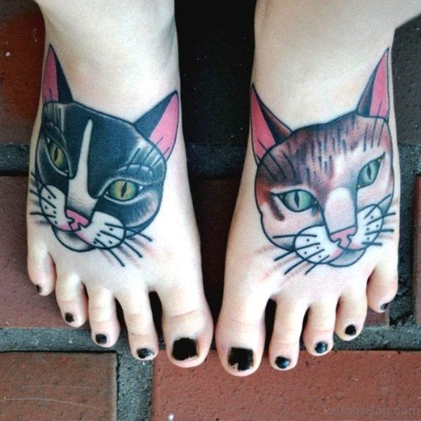Marvellous Cats Tattoos Design On Feet