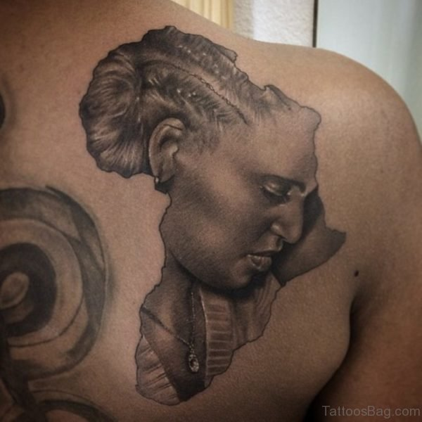 Marvelous African Map Tattoo On Back